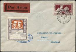LET FRANCE - 1° Vols - 3/2/25, Paris/Dakar Par Lemaitre & Arrachard, Enveloppe, Cachet Bleu + Vignette Violette (Saul 5) - Eerste Vluchten