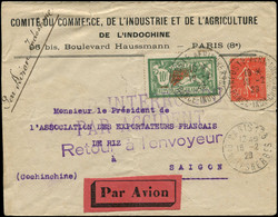 "LET FRANCE - 1° Vols - 19/2/29, Paris/Indochine, Tentative, Enveloppe Cachet Spécial ""France Indochine"" + Griffe Raid In - Eerste Vluchten"