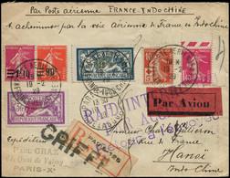 """LET FRANCE - 1° Vols - 17/2/29 France/Indochine, Enveloppe Recommandée, Timbres Sans Mention """"Annulé"""", Cachet Urgent Rai - Eerste Vluchten"""