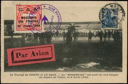 LET FRANCE - 1° Vols - 31/3/29, Meeting De Troyes, Paris/Marseille, CP + Vignette Rouge Et Cachet Spécial - Eerste Vluchten
