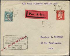 LET FRANCE - 1° Vols - 3/5/29, Clermont/Lyon, Vol Du 16 Avril Reporté, Griffe Spécial, Enveloppe (Saul. 18) - Eerste Vluchten