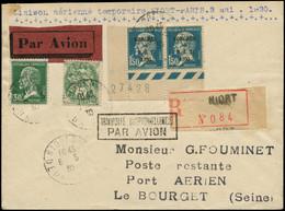 LET FRANCE - 1° Vols - 6/5/30, Niort/Paris, Enveloppe Recommandée, Cachet Transport Exceptionnel (Saul 24b) - Eerste Vluchten