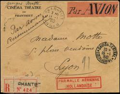 """LET FRANCE - 1° Vols - 15/1/30, Saïgon/Europe, Env. Recommandée De Phan-Tiet, Cachet Rouge """"Malle Aérienne Hollandaise"""" - Eerste Vluchten"""