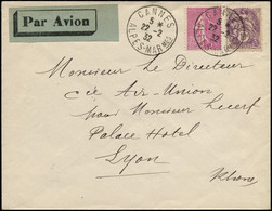 LET FRANCE - 1° Vols - 22/2/32, Cannes/Lyon, Enveloppe (Saul 7b) - Eerste Vluchten