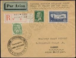 """LET FRANCE - 1° Vols - 20/6/32, Paris/Cannes, Enveloppe Rec. Du Bourget, Cachet Spécial Violet """"Air Union"""" (Saul 06) - Eerste Vluchten"""