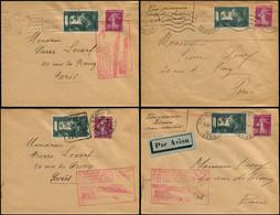 LET FRANCE - 1° Vols - 7/7/37, Voyage Retour Sur Paris, 4 Enveloppes Au Départ De Grenoble/Mont De Marsan/Toulouse/ Perp - Eerste Vluchten