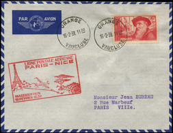 """LET FRANCE - 1° Vols - 16/2/38, Orange/Paris, Enveloppe Cachet Spécial Rouge Paris/Nice, """"1.6kg à L'escale"""" (Saul 7) - Eerste Vluchten"""