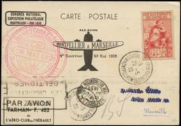 LET FRANCE - 1° Vols - 30/5/39, Montpellier/Marseille, Vol Spécial, CP Et Cachets Temporaires (Saul 15) - Eerste Vluchten