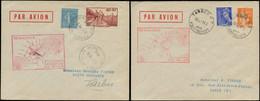LET FRANCE - 1° Vols - 10/5/39, Tarbes/Paris Et Paris/Tarbes, Nocturne, 2 Enveloppes Avec Cachet Rouge Spécial - Eerste Vluchten