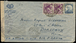 LET FRANCE - 1° Vols - 12/5/40, Rio/France, 10ème Anniversaire De La Traversée De Mermoz, Enveloppe Censurée, Cachet Spé - Eerste Vluchten