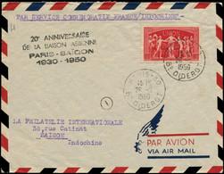 LET FRANCE - 1° Vols - 28/2/50, 20ème Anniversaire Liaison France/Indochine, Enveloppe, Griffe Noire (Saul 4) - Eerste Vluchten
