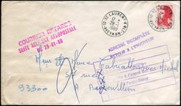 """LET FRANCE - 1° Vols - 28/1/88, Enveloppe """"St. Laurent - Aveyron"""", Avec Griffe Rouge """"Courrier Retardé Suite Accident Aé - Eerste Vluchten"""