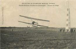 AVIATION AVION AUTRES  - GRANDE SEMAINE D'AVIATION DE CHAMPAGNE. FARMAN AU VIRAGE N° 312768 - Reuniones