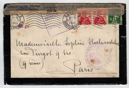 Bâle 17 Novembre 1915 Pour Paris Contrôle Postal Pontarlier + Bande De Fermeture Type 509 - Guerres