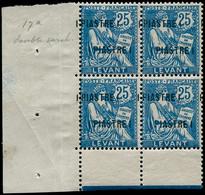 ** LEVANT FRANCAIS - Poste - 17a, Bloc De 4, Double Surcharge, Cdf, Signé Brun: 1p. S. 25c. Mouchon Bleu - Unclassified