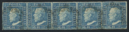 Sicily 1859 2gr Blue Plate III STRIP OF 5 USED, Exceptional Quality, Sign. Alfredo Fiecchi (per Esteso), Sass. €12,000 - Sicilië