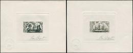 EPA TERRES AUSTRALES - Poste Aérienne - 38/39, 2 épreuves D'artiste En Gris-noir, Signées Béquet: 100f. Et 200f. Voilier - Unclassified
