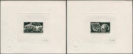 EPA TERRES AUSTRALES - Poste Aérienne - 51/52, 2 épreuves D'artiste En Noir, Signées Gauthier: Géophysique, Satellites - Unclassified