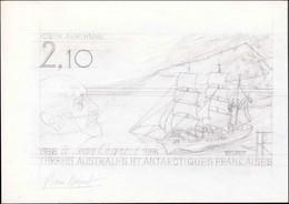 MAQ TERRES AUSTRALES - Poste Aérienne - 93/94, Série Complète Des 2 Maquettes (160x245) Au Crayon + Une Maquette De La V - Unclassified