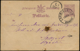 "O ALL.  WURTEMBERG - Entiers Postaux - CP 5pf. Violet Oblitéré 9/12/1883, Illustrée Ludwigsburg Jagd Gesellschaft"" (chie - Wuerttemberg"