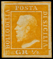 * ITALIE  2 SICILES - Poste - 18, Signé Brun (Planche I, 86): 1/2gr. Orange (Sas. 1) - Sicilië