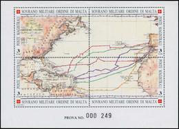 EPL ORDRE DE MALTE - Poste - 416/9, épreuve De Luxe Collective Numérotée (prova): 500ème An Amérique, C. Colomb - Sovrano Militare Ordine Di Malta