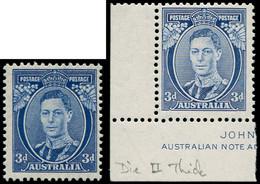"""** AUSTRALIE - Poste - 113, 2 Exemplaires Dentelés 13.5 X 14, """"Die II"""" (Menton Surligné), Papier Mince Ou épais: 3d. Ble - Unclassified"""