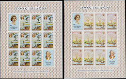 ** COOK - Poste - 182/5, 4 Feuillets De 10 Non Dentelés + 2 Vignettes: Bicentenaire De J. Cook - Cookeilanden