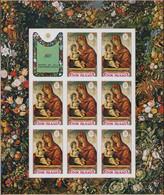 ** COOK - Poste - 287/91, 5 Feuillets De 8 Non Dentelés + 1 Vignette, Cadre Fleurs: Noël 1971, Bellini - Cookeilanden