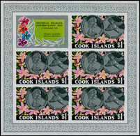 ** COOK - Poste - 453, Feuillet De 5 Non Dentelés + Vignette: 1$ Conservation De La Nature - Cookeilanden