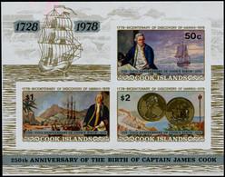 ** COOK - Blocs Feuillets - 83, Non Dentelé: 250ème An. James Cook - Cookeilanden