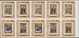 ** COOK - Blocs Feuillets - 107/10, 2 Séries Non Dentelées En Une Feuille De 10 Blocs: Noël 1980, Enluminures - Cookeilanden