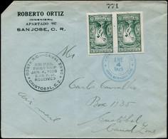 LET COSTA RICA - Poste - 133, Paire Non Dentelée Sur Enveloppe 1er Vol San José/Cristobal 4/1/1925: Jeux Olympiques - Costa Rica