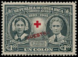 """** COSTA RICA - Poste Aérienne - 122, Surcharge Rouge """"Muestra"""" (spécimen): 60ème An. Croix-Rouge - Costa Rica"""