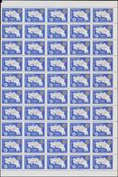 ** COSTA RICA - Poste Aérienne - 673, Panneau De 50 Exemplaires, Non Dentelés Verticalement (100 Pièces Connues): 3c. Ro - Costa Rica