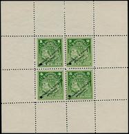 "(*) COSTA RICA - Fiscaux Postaux - (1880/1900), Service 1/2/4/5p., Feuillet Composite En Vert, Surcharge ""spécimen Water - Costa Rica"