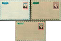 LET DUBAI - Entiers Postaux - 3 Essais D'aérogramme, 10r. (type Michel 17), Sur Carton, Non émis (1963) - Dubai