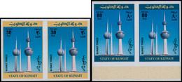 ** KUWAIT - Poste - 719/20, 2 Paires Non Dentelées (tirage 150): Tours Du Kuwait - Kuwait