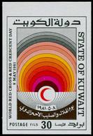 ** KUWAIT - Poste - 871, Couleur Non émise (cadre Blanc), Non Dentelé (1 Feuille Connue): 30f. Croix-Rouge - Kuwait