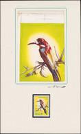 MAQ LIBYE - Poste - 573/77, Exceptionnelle Série De 5 Maquettes Originales, Gouache (130x90), Signées: Oiseaux - Unique  - Libië