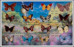 ** LIBYE - Poste - 965/80, Feuillet De 16, Non Dentelé: Papillons (Michel Bf. 96) - Libië