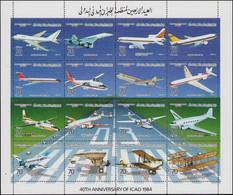 ESS LIBYE - Poste - 1450/65, Série De 8 Feuillets De 16 Essais De Couleurs, Dentelés (+bloc Normal): OACI, Avions, Conco - Libië