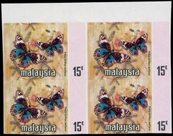 ** MALAISIE KELANTAN - Poste - 109, Noir Manquant (pays, Visage, Armoiries), Bloc De 4 Non Dentelé: 15c. Papillon (SG 11 - Kelantan