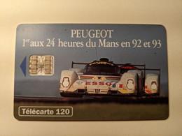 TELECARTE FRANCE TELECOM  120 PEUGEOT 24 HEURES DU MANS 905 - Cars