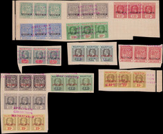 """SPE MAURICE - Poste - 148+150+155+159+165+167+170+172/5+177+179A, 13 Bandes De 3 Sur Fragments Album UPU, Surcharge """"spé - Mauritius (...-1967)"""