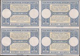* MAURICE - Coupons Réponse - Bloc De 4 Non émis, Provenant De L'album UPU 1947: 30 Cents Of  Rupee - Mauritius (...-1967)