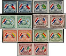 * PARAGUAY - Poste Aérienne - 138/44, En Paires Non Dentelées (tirage 150): Drapeaux, Morinigo - Paraguay