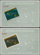 ** PARAGUAY - Blocs Feuillets - Michel 32/33, Dentelé + Non Dentelé: Système Solaire - Paraguay