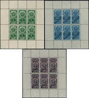 """ESS PEROU - Fiscaux - Consulaire 10l. Violet - 2$. Vert - 5$. Bleu, 3 Feuillets De 6, Surchargés """"spécimen Waterlow"""" - Pérou"""