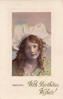 BI63.Vintage Greetings Postcard.Simplicity. Young Girl In A White Hat. - Groepen Kinderen En Familie